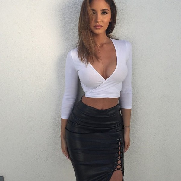 Skirt: leather skirt, pencil skirt, leather pencil skirt, tie side ...