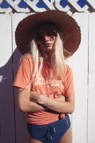 swimwear navy bikini crochet bikini bikini bottoms graphic tee beach summer outfits sun hat straw hat oversized sunglasses retro sunglasses tie-front top platinum hair big hat