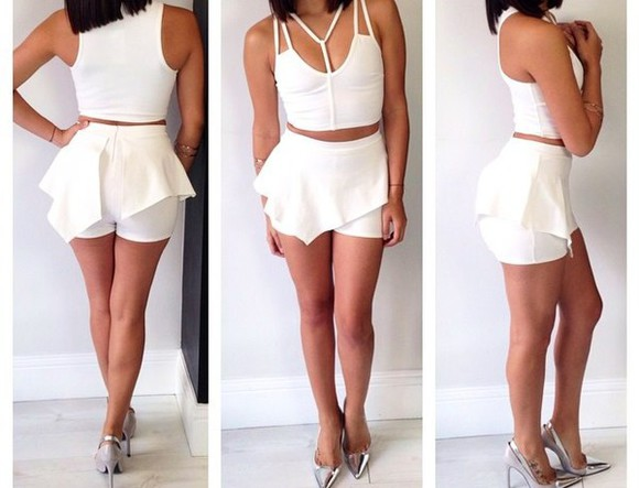 skirt top crop tops white