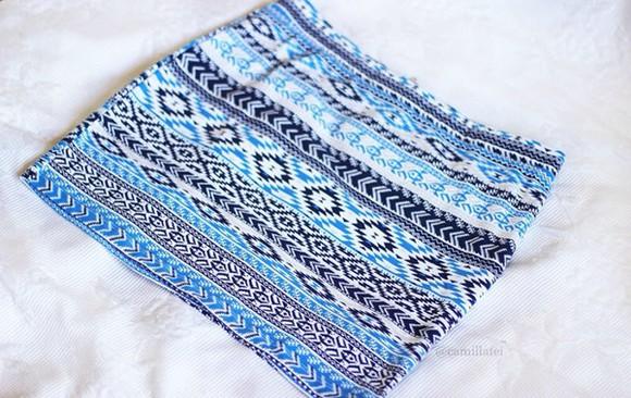 blue skirt blue white summer outfits skirt aztec