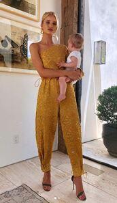jumpsuit,pants,rosie huntington-whiteley,model off-duty,sandal heels,one shoulder,celebrity,top