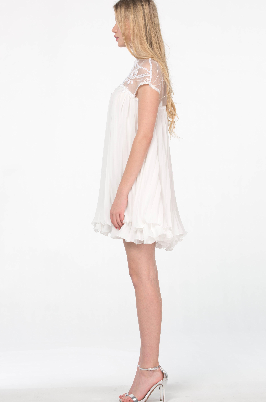 White Short Sleeve Lace Pleated Chiffon Dress - Sheinside.com