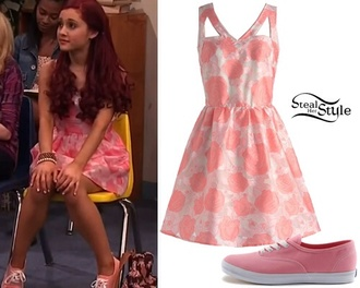 dress ariana grande pink shoes flowers
