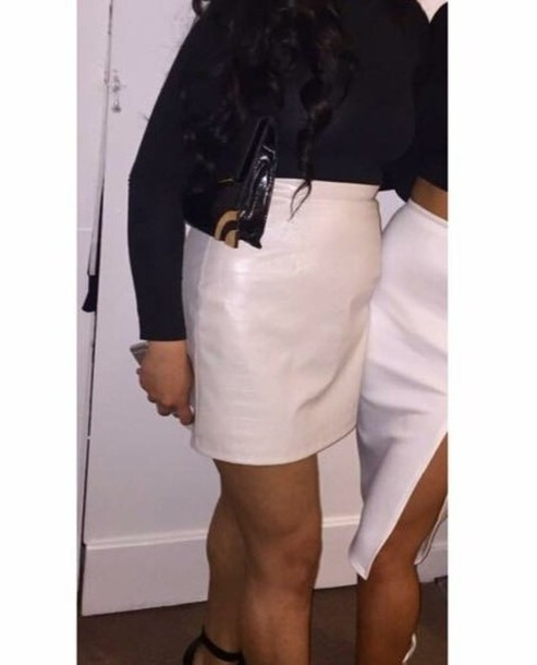 Skirt: faux leather skirt, white, cream, cream skirt, white skirt ...