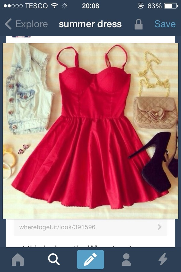dress red dress summer dress bright skater
