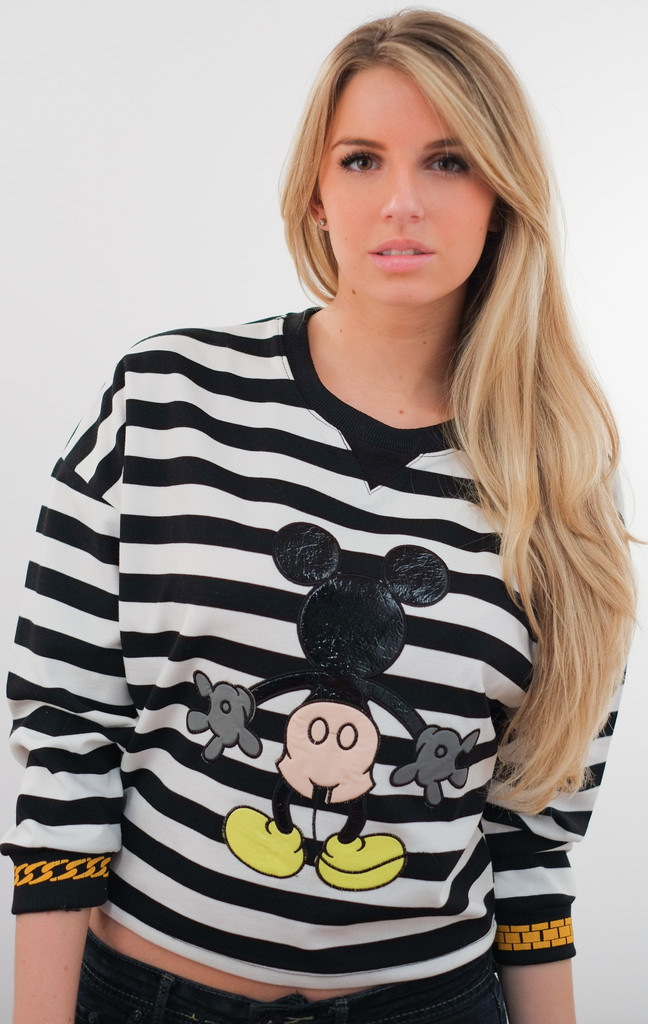 Mickey striped blouse w/ chain cuffs – glamzelle