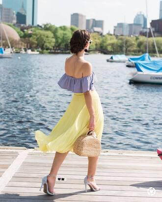 shoes tumblr sandals sandal heels high heel sandals skirt midi skirt yellow top blue top off the shoulder off the shoulder top bag basket bag