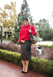 thesweetestthing,blogger,sweater,skirt,shoes,sunglasses,jewels,bag,winter outfits,red sweater,midi skirt,high heel pumps,pumps,h&m,nordstrom,louboutin,j crew,chanel bag