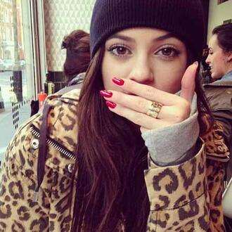 jacket brown polka dots casual spring kylie jenner kardashians jewels amazing leopard print hat beanie ring coat leopard coat zip detail anarok parka animal print red nails nail polish cartier love ring cartier ring cartier kylie jenner cartier ring kylie jenner cartier ring celebrity online boutique