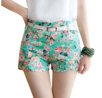 floral shorts floral flowers teal green shorts hipster shorts