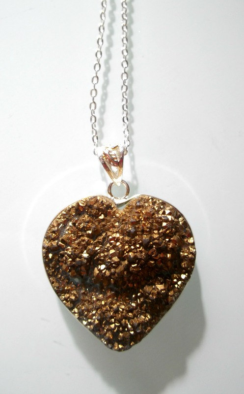 Gold/Brown Titanium Quartz Heart Shaped Necklace - Love, Creativity