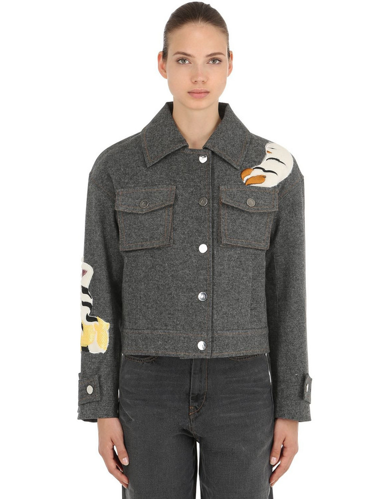 ANGEL CHEN Tiger Embroidered Cotton Denim Jacket in grey