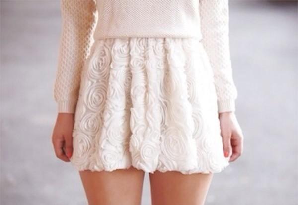 skirt white skirt white floral skirt pale pastel sweater