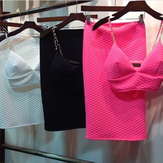 dress skirt crop tops quilted set pink white black chain top