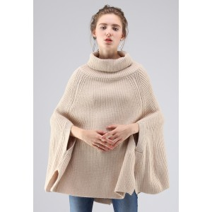 Fashionable Folk Ribbed Knit Cape Sweater in Sand