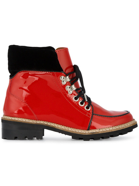 Ganni flat boots women leather red shoes
