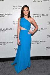 dress,blue,blue dress,gal gadot,one shoulder,asymmetrical,asymmetrical dress,cut-out dress,gown,long dress,prom dress