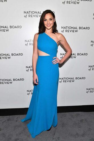 dress blue blue dress gal gadot one shoulder asymmetrical asymmetrical dress cut-out dress gown long dress prom dress