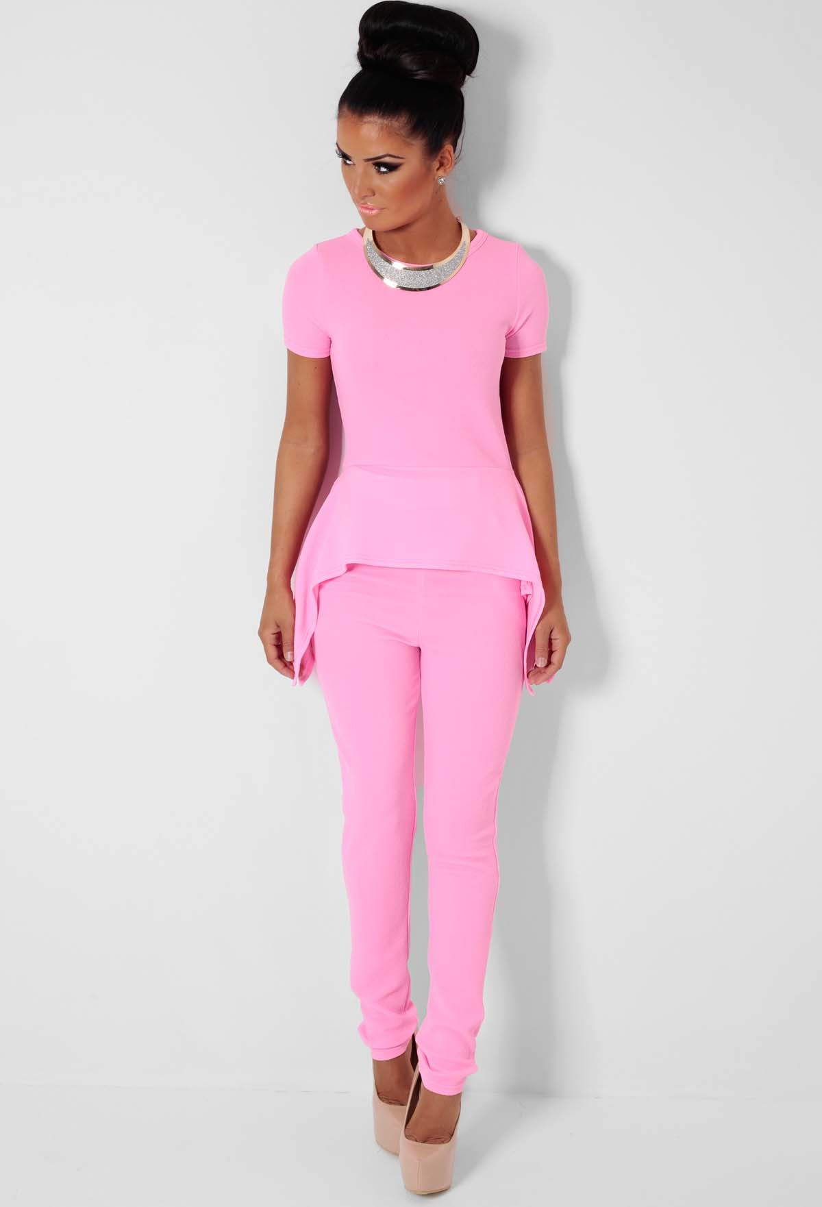 Raspberry Sorbet Pink Top and Trousers Two Piece Set | Pink Boutique
