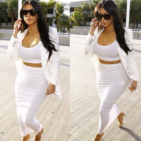 LONG SLEEVED CROP TOP W/ HIGH WAISTED FORM FITTING SKIRT SET