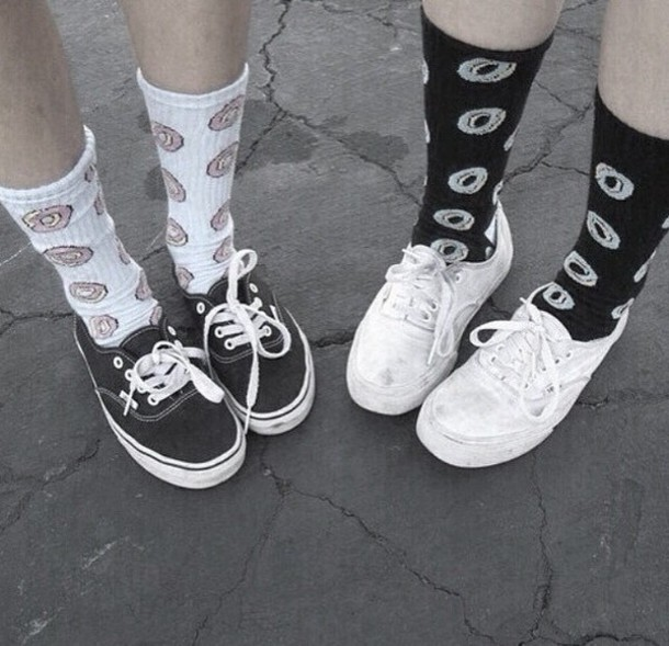 socks donut love grunge donut Living Royal black and white