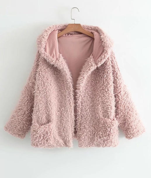 coat girly pink fur fur coat fur jacket faux fur faux fur jacket hoodie fuzzy coat
