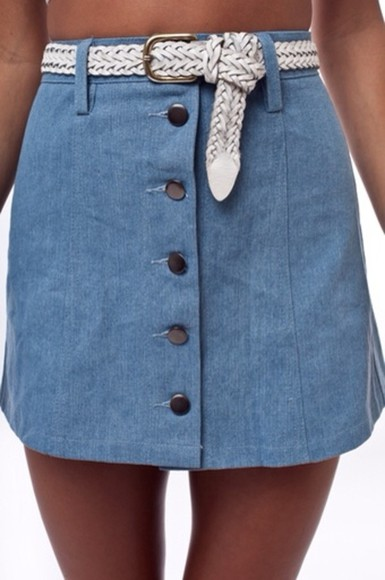 skirt mini denim denim skirt denim mini skirt mini skirt blue skirt buttons up front white belt high waisted blue skirt high waisted denim skirt blue denim high waisted skirt buttons