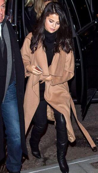 coat boots selena gomez camel coat pants