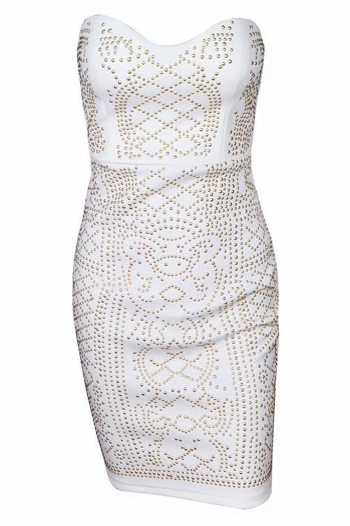 Hester - Bandeau Gold Studded Bodycon Dress (White)
