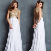 dress,prom dress,long prom dress,white prom dress,gold prom dress,backless prom dress,bckless dress,open back,open back dresses,white dress,sexy party dresses