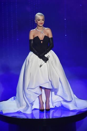 dress oscars 2015 gown bustier strapless rita ora red carpet dress