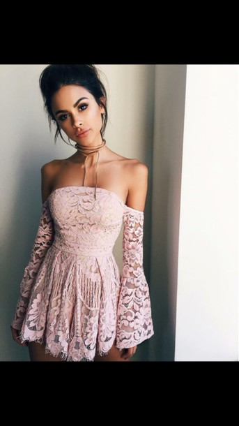 357933f0f3d8 dress pink lace summer dress floral short lace dress off the shoulder off  the shoulder dress
