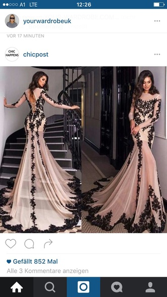 dress prom dress long sleeve dress champagne dress lace dress