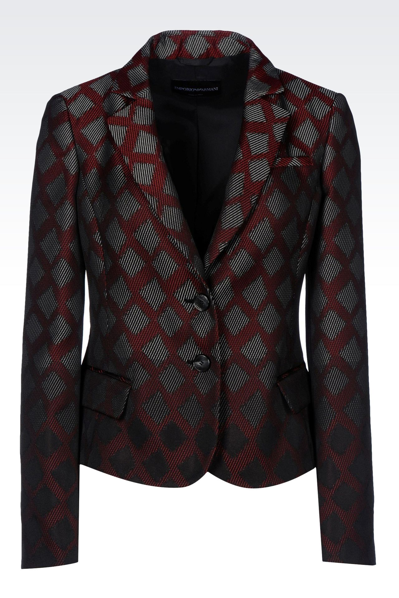 Emporio Armani Women Two Buttons Jacket - SINGLE BREASTED JACKET IN GEOMETRIC DESIGN JACQUARD Emporio Armani Official Online Store
