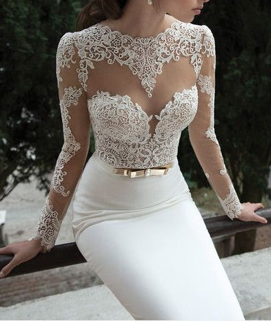 Sexy long sleeves sheer lace mermaid wedding dresses