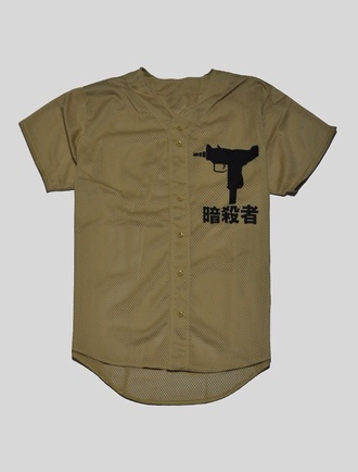 button up shirt t-shirt baseball jersey uzi japanese baseball tee