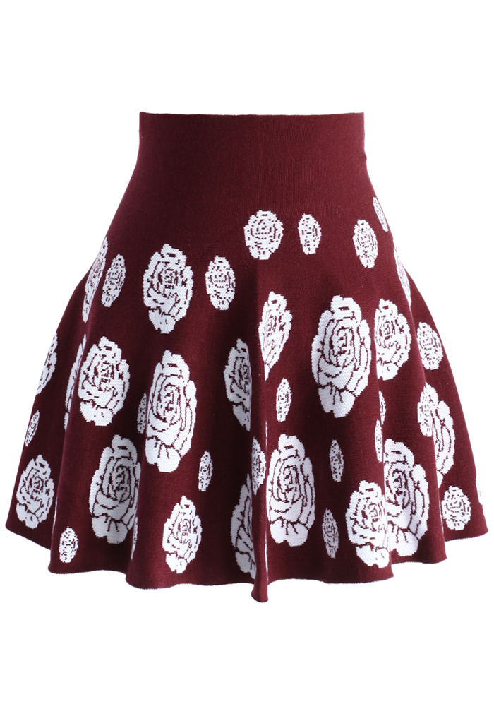 Rose Knitted Mini Skater Skirt in Wine - Retro, Indie and Unique Fashion
