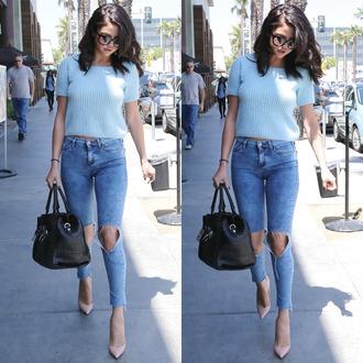 jeans blue top blue sweater shirt selena gomez