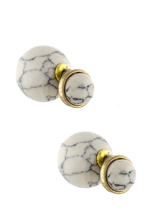 Marbled faux gem stone double sided stud earrings