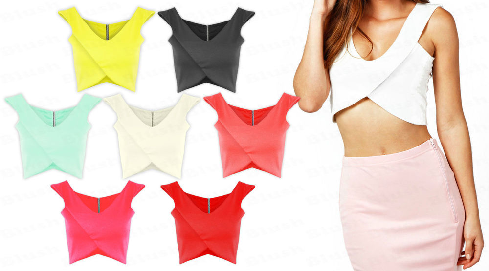 Ladies Girls V Neck Bandeau Back Zip Racer Bralet Vest Boobtube Crop Top 6-14