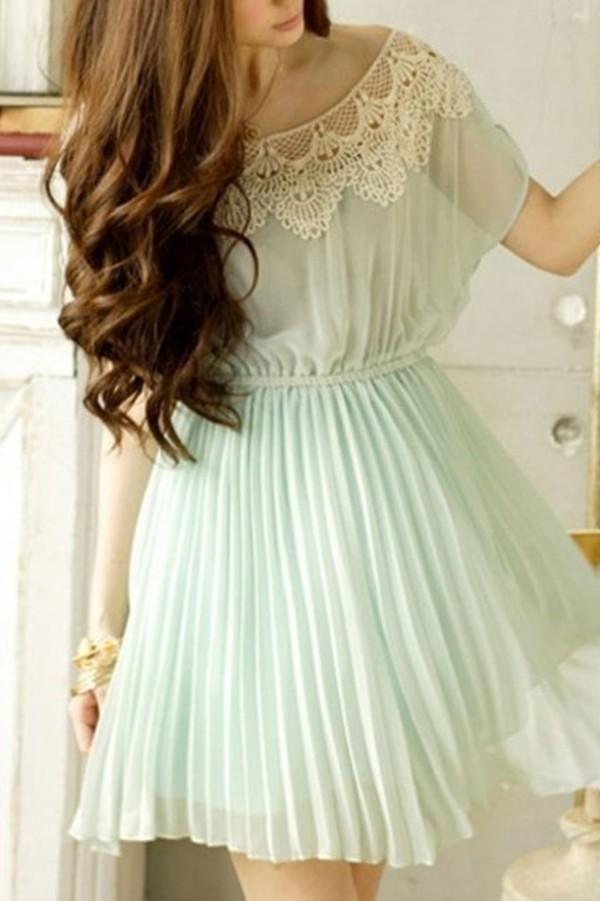 dress green dress blue dress kawaii pastel cute