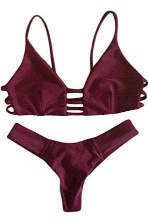 94966aafe1dd6 OYMMENEY Women Cut Out Vintage Pin Up Two Piece Bikini Set Tankini Swimwear  Swimsuits: Amazon.co.uk: Clothing