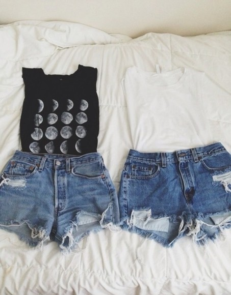 shorts denim denim shorts levis ripped denim shirt silver moon black t-shirt tumblr tshirt high waisted short moon