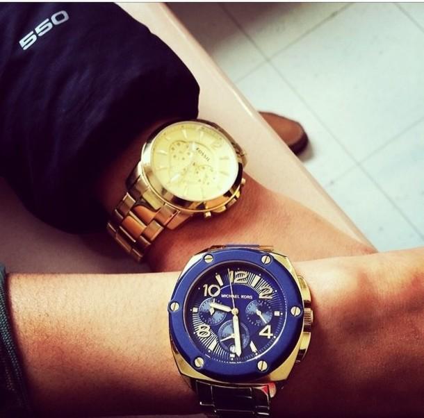 jewels blue gold watch