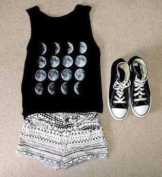 shirt moon shirt sleeveless shirt shorts skirt t-shirt black moon top short tank top brandy melville white lunar crop tops converse shoes werewolf cresent moon weheartit bag leggings moon tank top black t-shirt black and white tumblr fashion cool teenagers moon phases
