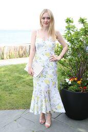 dress,midi dress,floral,floral dress,dakota fanning,sandal heels,sandals,celebrity
