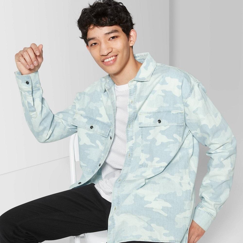 Men's camo print long sleeve button-down shirt - original use&™ light indigo m