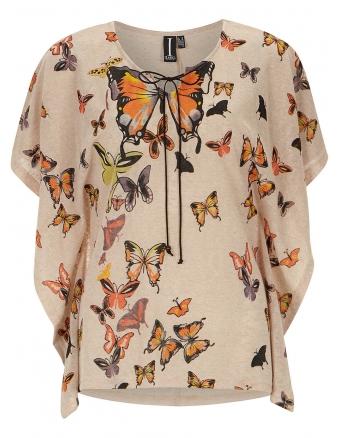Beige butterfly kimono top