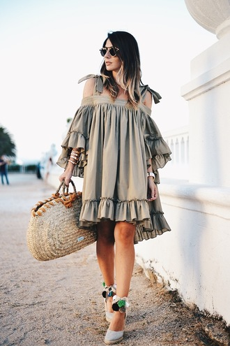 dress tumblr espadrilles wedges wedge sandals midi dress grey dress oversized off the shoulder off the shoulder dress ruffle bag woven bag shoes