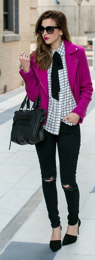 blouse checkered black chic edgy
